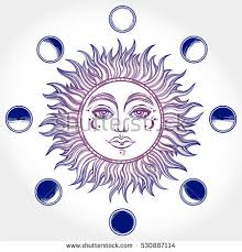 vintage sun moon stock vector 675699274