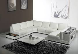 White Sectional Sofa by Modern Euro Design Italian White Leather U0027u U0027 Shaped Sectional Sofa