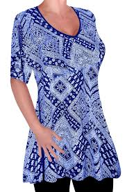 eyecatch womens print v neck blouse tunic ladies swing flared t