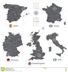 France Spain Map by High Detailed Vector Maps Of United Kingdom Italy Germany