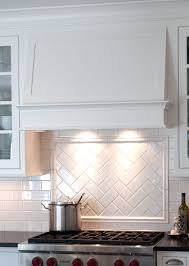 White Kitchen Backsplashes Gorgeous Simple Hood And Herringbone Pattern Title Backsplash