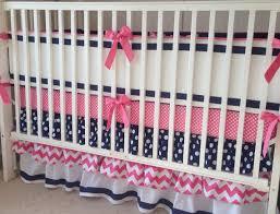 Preppy Crib Bedding Preppy Pink Navy And White Ruffled Crib Bedding Set O Baby