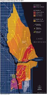 Chicago Map Poster by Progress Of The Chicago Fire Of 1871 Michael P Conzen With