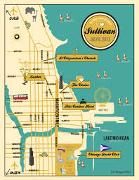 Chicago City Map by Custom Chicago Wedding Map Wedding Map Invitation Itinerary