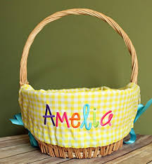 personalized easter basket personalized easter basket liner yellow gingham