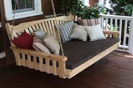 exterior comfortable terrace with porch swing bed plans