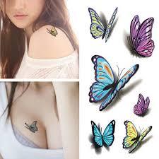 5pcs waterproof temporary diy 3d butterfly pattern sticker