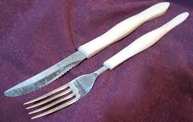 vintage cutco 1759 ki steak knife dinner fork pearl white