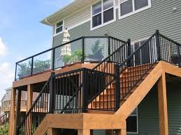 Ideas For Deck Handrail Designs Black Metal Deck Rails With Glass Panel Inserts And Slender