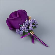 purple corsage 5pcs set made groom groomsman boutonniere silk wedding