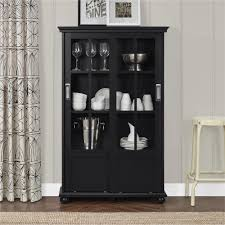 Bookcase With Doors Black Ameriwood Home Aaron Bookcase With Sliding Glass Doors