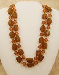 topaz crystal necklace images Necklace vintage multistrand amber brown crystal plastic bead west jpg