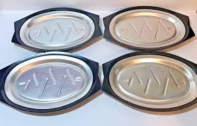 sizzle plates 4 nordic ware bakelite holder steak sizzle plates aluminum platter