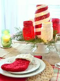 Decorated Jars For Christmas Chalky Painted Mason Jars And Christmas Tablescape Americana