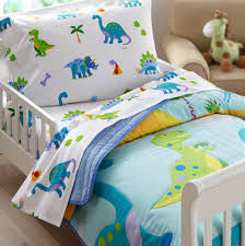 dinosaurland blue green dinosaur toddler bedding 4pc bed in a bag
