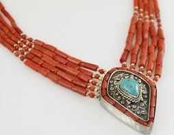 orange stone necklace images Coral choker turquoise sterling silver pendant necklace 925 orange jpg