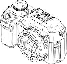 digital camera black white line art coloring book colouring sheet