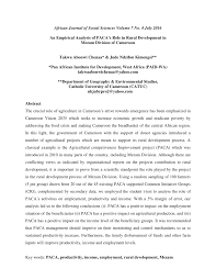 United States Department Of Agriculture Rural Development by An Empirical Analysis Of Paca U0027s Role In Rural Development In Mezam