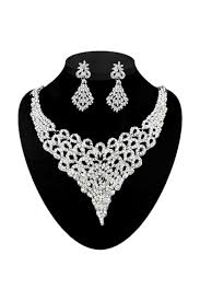 white stones necklace set images Silver plated white stone necklace set jpg
