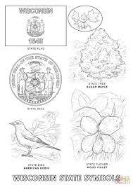 wisconsin state symbols coloring page free printable coloring pages