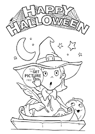 happy halloween and pretty witch coloring page for kids printable