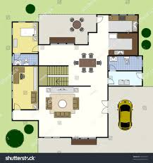 floor plan ground floor plan floorplan house home stock vector