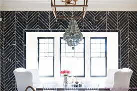 Lucite Dining Room Chairs Breakfast Room Black Chevron Wall Tile White Wingback Dining