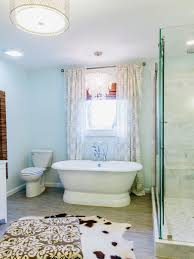 floor to ceiling free standing bath shower curtain faced off
