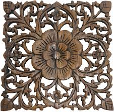 carved wooden wall pictures wood plaque carved lotus rustic wall decor carved
