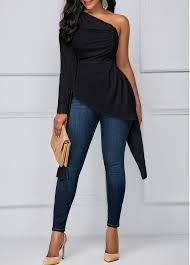 one shoulder blouse black one shoulder asymmetric hem blouse rosewe com usd 31 40