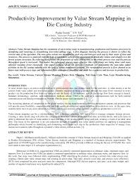 Value Stream Map Productivity Improvement By Value Stream Mapping In Die Casting