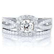 silver wedding rings damini s cut split band cz wedding ring set