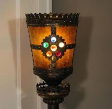 floor lamp mica floor lamp knights w jeweled crown shade mission