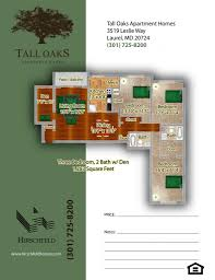Spacious 3 Bedroom House Plans Open House At Tall Oaks Apartment Homes In Laurel Md Hirschfeld