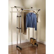 Rubbermaid Kitchen Cabinet Organizers by Rubbermaid Double Hang Garment Rack With Wheels 3b1903chrom