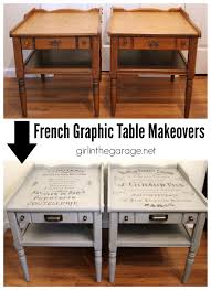 table makeover with french advertisement graphic the twin