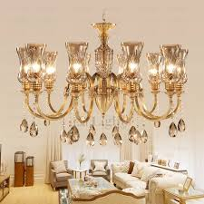 Glass Shade Chandelier 10 Light Glass Shade Brass And Crystal Chandelier