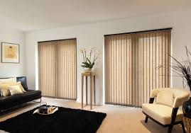 interior cream modern vertical blinds with black leather sofa