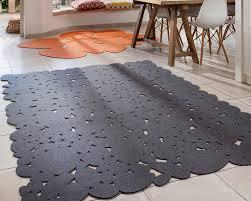 Pebble Rug Rectangle Contemporary Scandinavian Wool Felt Bedroom Carpet