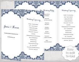 wedding programs trifold trifold program etsy