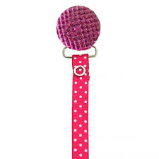 pink polka dot ribbon polka dot ribbon quilted pacifier clip