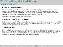 bank secretary application letter