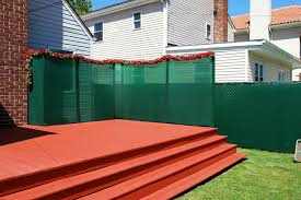 patio green fabric porch privacy screen with decorative flowers