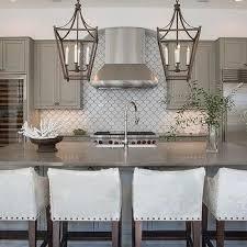 gray backsplash kitchen gray kitchen cabinets with white fan tile backsplash grey