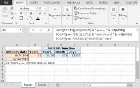 format date in excel 2007 calculate years months days elapsed from a certain date in