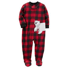 boy s polar buffalo plaid fleece footed pajamas