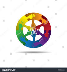 Six Flags Symbol Six Organization Cooperation United Colorful Icon Stock Vector