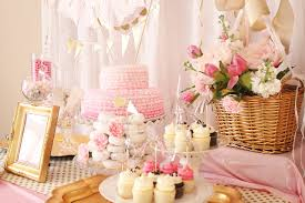pink and gold cake table decor party reveal air balloon birthday party project nursery