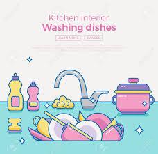 Kitchen Sink Clip Art Kitchen Sink With Kitchenware Dishes Utensil Towel Wash Sponge