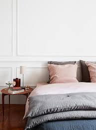 Grey Linen Bedding Pink Button Tufted Headboard Transitional Bedroom